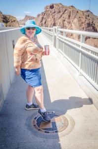 Charlene touches both Nevada and Arizona on the bridge over the mighty Colorado River.