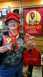 A lovely bonnet for Charlene! Would you buy raisins from this lady?