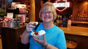 Charlene is enjoying FREE strawberries and cream. This winery was giving it away to people visiting their store