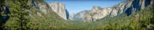 This is a merged panorama photo of 5 different photos across Yosemite Valley