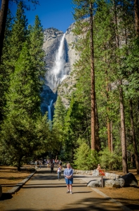 Charlene stands before Yosemite Falls.