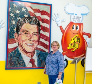There were several displays of Ronald Reagan and jelly beans. This portrait was made out of jelly beans.