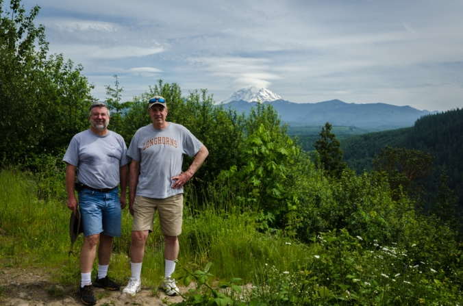 Ed and Steve on a hike to see more views of Mount Rainier.