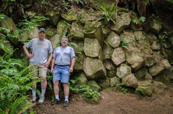 Steve showed Ed the basalt columns on the hike.