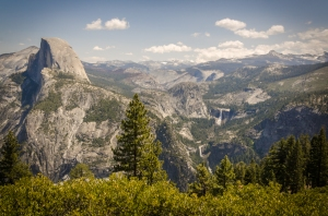View from Glacier Point with Half Dome, along with Nevada and Vernal Falls.