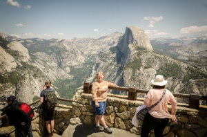 Charlene and others enjoy the view from Glacier Point.