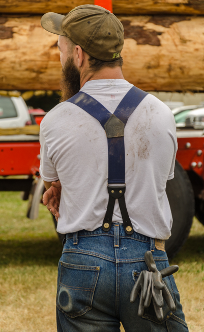 Suspenders are part of the logger equipment!