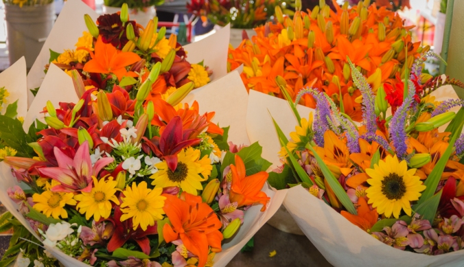 Beautiful flowers available in Pike Place Market.