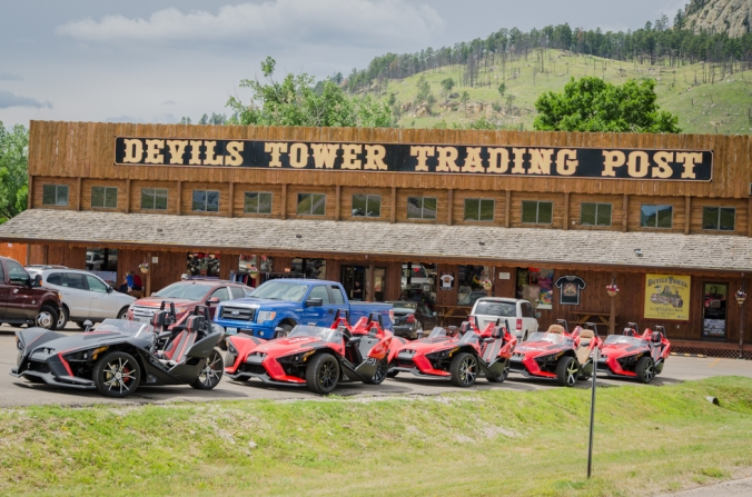 All kinds of motorcycles are ridden  to Devils Tower.