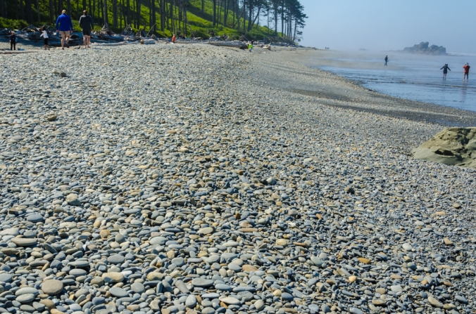 The river rock on the beach was very smooth.