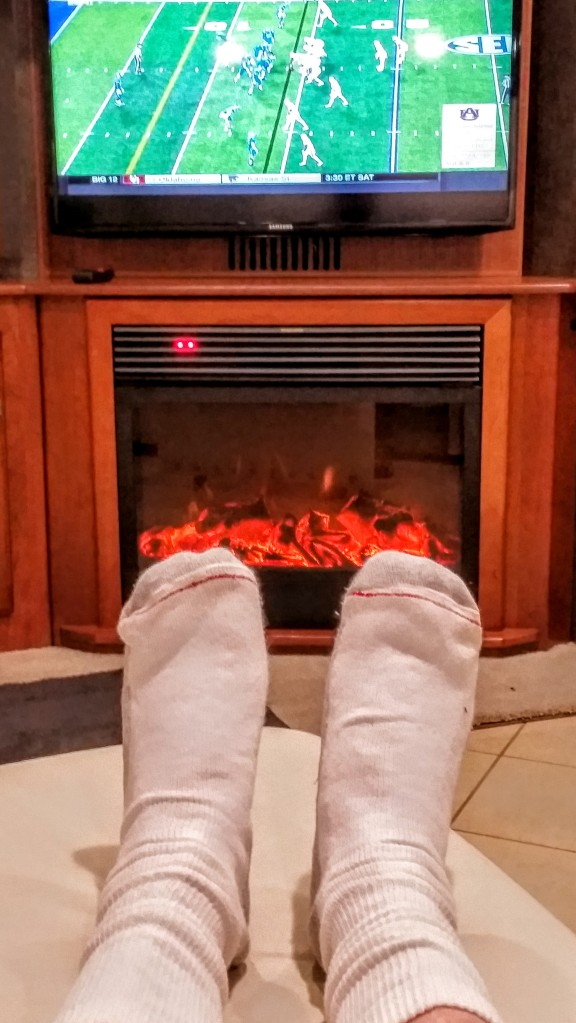 On a crisp evening, it is nice to sit in front of the warm (electronic) fire and watch football!