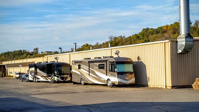 Electrical hookups were provided for RVs at the Flex Steel facilities.