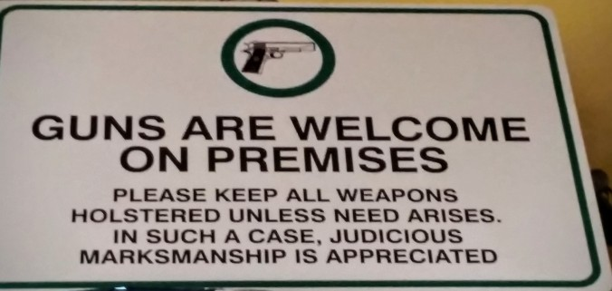 I would expect to see a sign like this in Texas, but I was surprised to find it in a barbecue restaurant in Iowa.