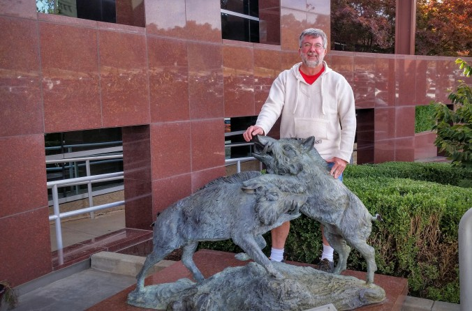 The razorback statue is in many, many photos!